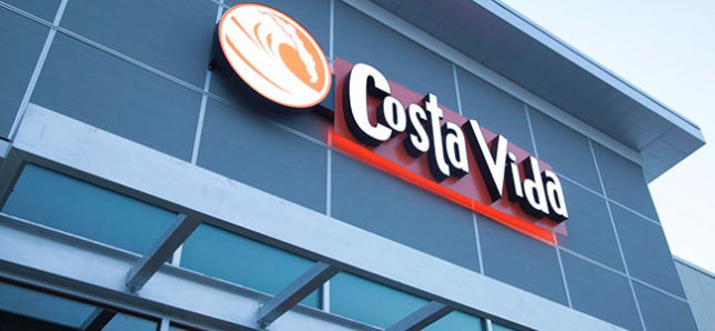 Image of the Costa Vida logo sign on the front of a store.